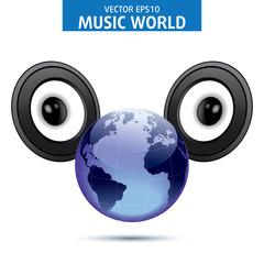 Music Globe of the world. Vector Illustration