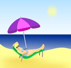 Girl sunbathing on the beach under a   parasol.