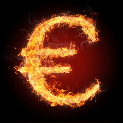 Fonts and symbols in fire for different purposes - EURO