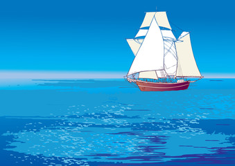 Flying Dutchman. Vector art-illustration.