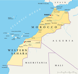 Morocco and Western Sahara political map with the capitals Rabat and El Aiun, with national borders, most important cities, rivers and lakes. Illustration with English labeling and scale. Vector.