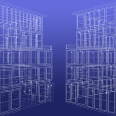 Two wireframe rendered buildings
