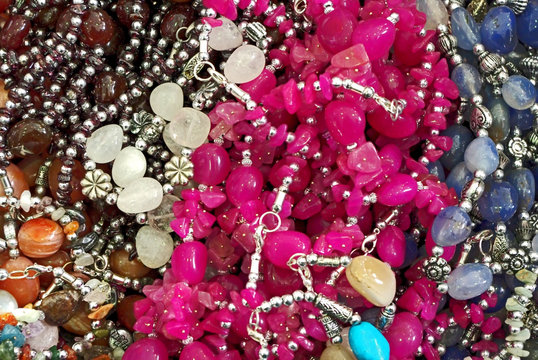 Lot of colored beads from different minerals