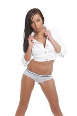 Attractive brunette girl posing in panties