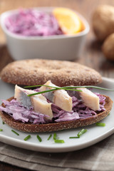 Herring and coleslaw sandwich