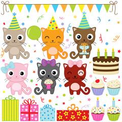 Printed kitchen splashbacks Cats Birthday Party Cats