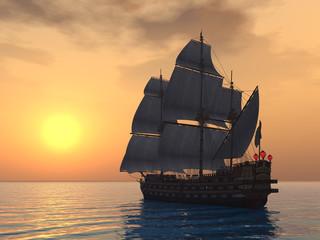 Segelschiff mit Sonnenuntergang