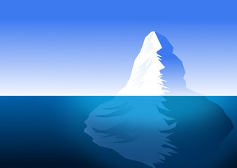 iceberg partially submerged in water . vector file