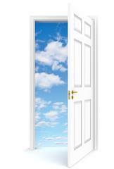 Open door to sky. Open door to sky, white background.