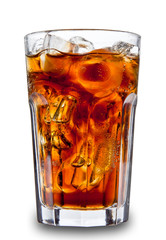 Cola in glass, isolated on white background