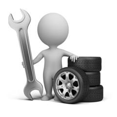 3d small people - car mechanic