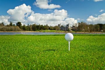 Golf ball on Irish idyllic course