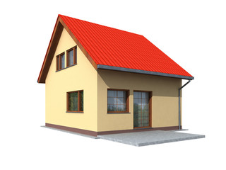 Simple 3d render of house in perspective