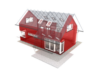 Semitransparent 3d render of house in upper perspective