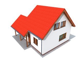 Simple 3d render of house in upper perspective