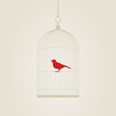 Deurstickers Vogels in kooien Birdie in a cage