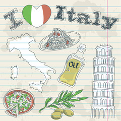 Papiers peints Doodle Italy travel grunge card