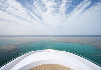 View from the bow of a large yacht