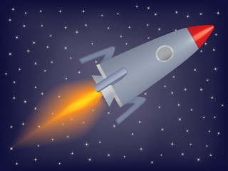 rocket flying in a space vector illustration