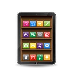 ベクター、タブレットPCと棚に並べられたアプリ