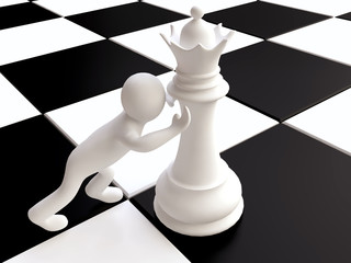3D Man Pushing a Chess Queen Figure