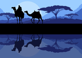 Camel caravan in wild mountain nature landscape background