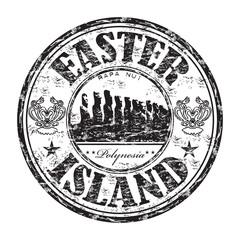 Easter Island grunge rubber stamp