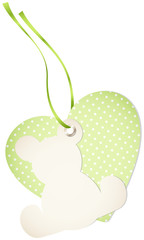 Hangtag Teddy & Heart Dots Green Bow