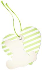 Hangtag Teddy & Heart Stripes Green Bow
