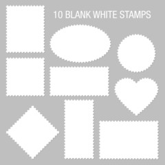 10 Blank White Stamps