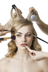 in beauty salon, the girl looks at right