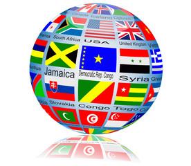 Iinternational flag globe.Vector