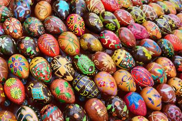 decoration made of of painted wooden easter eggs