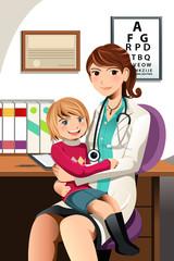 Pediatrician with child