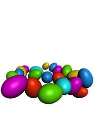 Colorful Easter eggs in different angles on a white background