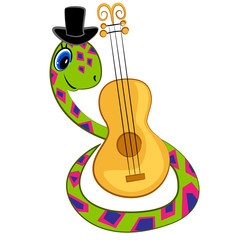 cartoon snake playing guitar