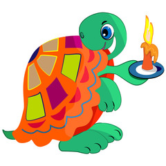cartoon turtle with candle illustration