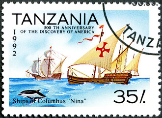"TANZANIA - 1992: shows Ships of Columbus ""Nina"", devoted to"