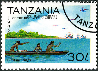 TANZANIA - 1992: shows First meetings, devoted to 500th annivers