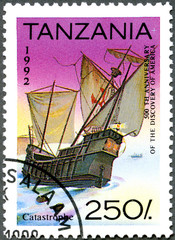 TANZANIA - 1992: shows Ship running aground, devoted to 500th an