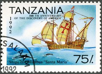 "TANZANIA - 1992: shows Ships of Columbus ""Santa Maria"", devo"