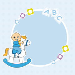 Marco bebe niño. Bebé con balancin
