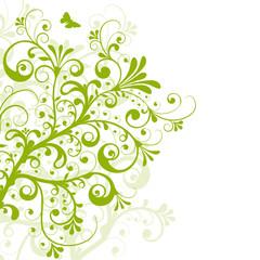 Floral, Frühling, grün, swirl, geschwungen, Pflanze, abstrakt