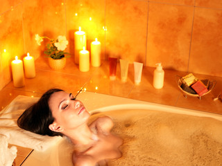 Obraz Woman take bubble  bath. - fototapety do salonu
