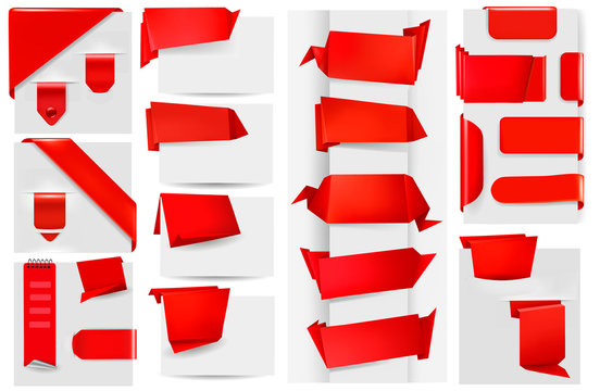 Big collection of red origami paper banners and stickers.