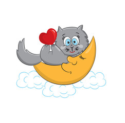 A cute cat with heart lying on the moon.Vector illustration