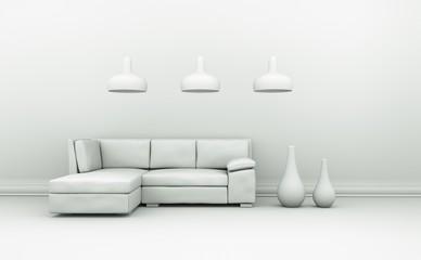 Modell - Sofa mit Lampen