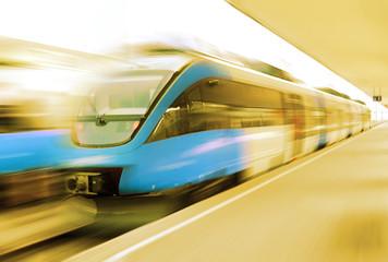 Modern speed train on a station