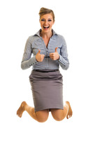 Business woman jumping with happiness isolated on white