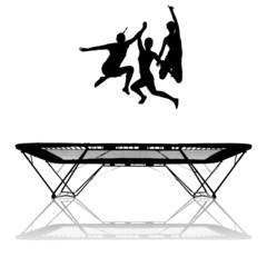 Fototapete - silhouette of three female gymnasts jumping on trampoline